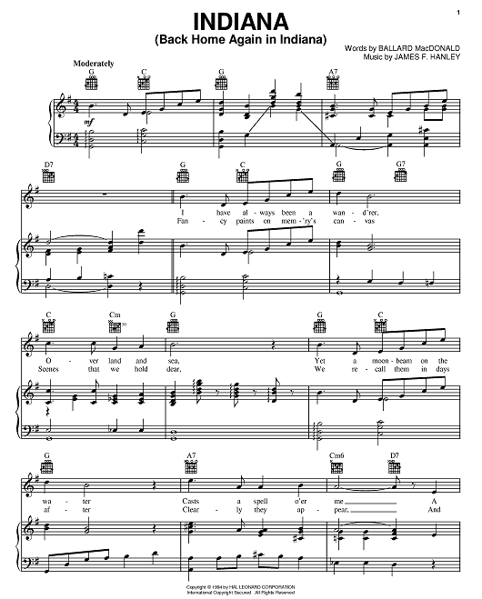 Sheet music for Back Home Again in Indiana