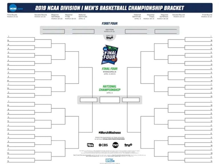 NCAA bracket depicting Beck's fun facts about basketball