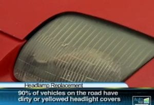 a picture of a headlight that needs cleaned by Beck's Auto Center