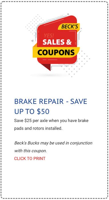 Beck's auto Center brake service coupon 2020