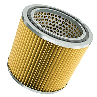 Car engine air filter isolated on white background. 3D rendered illustration.