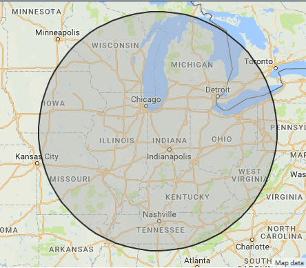 Map with 400 mile radius of Lafayette, IN