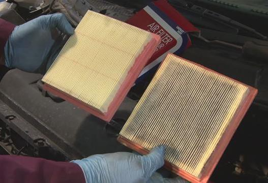 Beck's Auto Center comparing a clean and dirty air filter