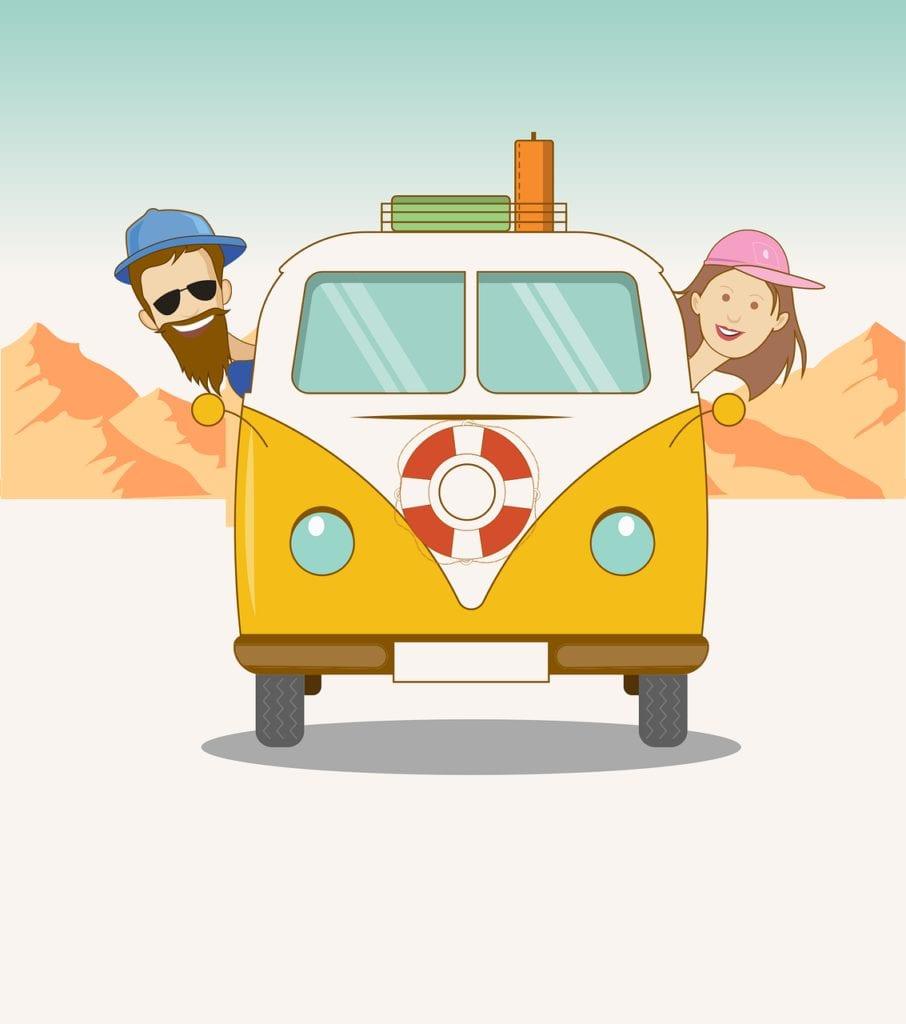 road trip, van, couple