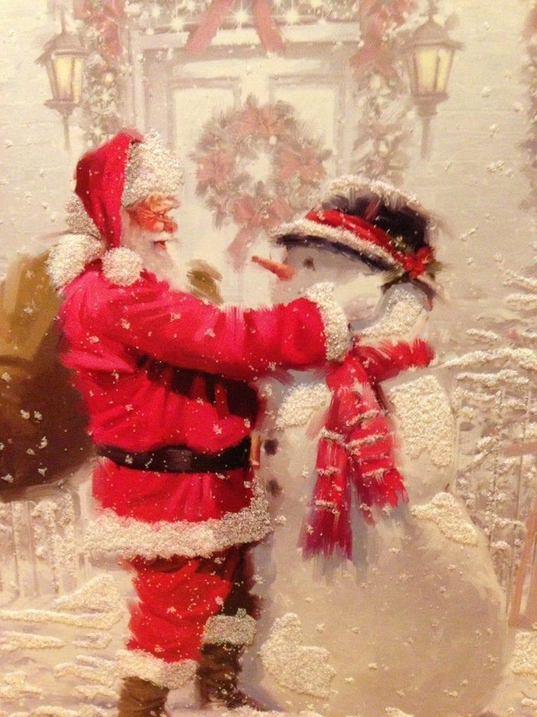 santa, christmas, snowman